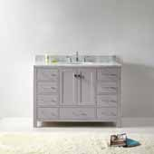 Caroline Avenue 48'' Single Bathroom Vanity Set in Cashmere Grey, Italian Carrara White Marble Top with Round Sink