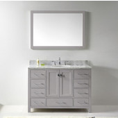 Caroline Avenue 48'' Single Bathroom Vanity Set in Cashmere Grey, Italian Carrara White Marble Top with Round Sink, Brushed Nickel Faucet, Mirror Included