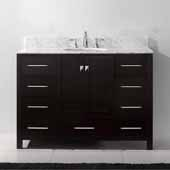 Caroline Avenue 48'' Single Bathroom Vanity Set in Espresso, Italian Carrara White Marble Top with Round Sink