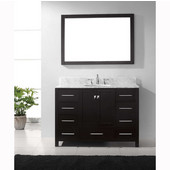 Caroline Avenue 48'' Single Bathroom Vanity Set in Espresso, Italian Carrara White Marble Top with Round Sink, Available with Optional Faucet, Mirror Included