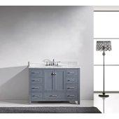 Caroline Avenue 48'' Single Bathroom Vanity Set in Grey, Italian Carrara White Marble Top with Round Sink