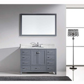 Caroline Avenue 48'' Single Bathroom Vanity Set in Grey, Italian Carrara White Marble Top with Round Sink, Polished Chrome Faucet, Mirror Included