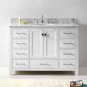 Caroline Avenue 48'' Single Bathroom Vanity Set in White, Italian Carrara White Marble Top with Round Sink