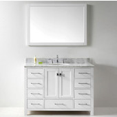 Caroline Avenue 48'' Single Bathroom Vanity Set in White, Italian Carrara White Marble Top with Round Sink, Available with Optional Faucet, Mirror Included
