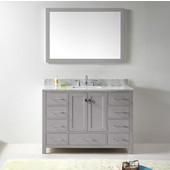Caroline Avenue 48'' Single Bathroom Vanity Set in Cashmere Grey, Italian Carrara White Marble Top with Square Sink, Brushed Nickel Faucet, Mirror Included
