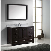 Caroline Avenue 48'' Single Bathroom Vanity Set in Espresso, Italian Carrara White Marble Top with Square Sink, Available with Optional Faucet, Mirror Included