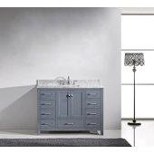 Caroline Avenue 48'' Single Bathroom Vanity Set in Grey, Italian Carrara White Marble Top and Square Sink