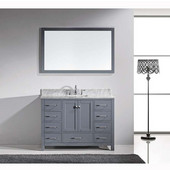 Caroline Avenue 48'' Single Bathroom Vanity Set in Grey, Italian Carrara White Marble Top with Square Sink, Brushed Nickel Faucet, Mirror Included