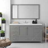 Caroline Avenue 60'' Single Bathroom Vanity Set in Cashmere Grey, Dazzle White Quartz Top with Round Sink, Mirror Included