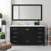 Caroline Avenue 60'' Single Bathroom Vanity Set in Espresso, Dazzle White Quartz Top with Round Sink, Mirror Included
