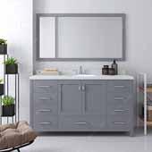 Caroline Avenue 60'' Single Bathroom Vanity Set in Grey, Dazzle White Quartz Top with Round Sink, Mirror Included