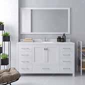 Caroline Avenue 60'' Single Bathroom Vanity Set in White, Dazzle White Quartz Top with Round Sink, Mirror Included