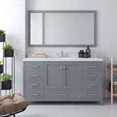 Caroline Avenue 60'' Single Bathroom Vanity Set in Grey, Dazzle White Quartz Top with Square Sink, Mirror Included