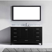 Caroline Avenue 60'' Single Bathroom Vanity Set in Espresso, Italian Carrara White Marble Top with Round Sink, Mirror Included