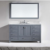Caroline Avenue 60'' Single Bathroom Vanity Set in Grey, Italian Carrara White Marble Top with Round Sink, Mirror Included