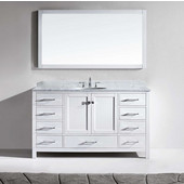 Caroline Avenue 60'' Single Bathroom Vanity Set in White, Italian Carrara White Marble Top with Round Sink, Mirror Included