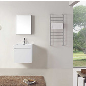 Zuri 24'' Wall Mounted Single Bathroom Vanity Set in Gloss White, White Polymarble Top with Integrated Square Sink, Faucet Available in 2 Finishes, Medicine Cabinet Included