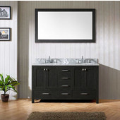 Caroline Premium 60'' Double Bathroom Vanity Set in Zebra Grey, Italian Carrara White Marble Top with Round Sinks, Brushed Nickel Faucets, Mirror Included
