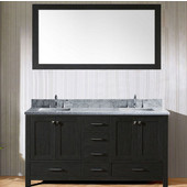Caroline Premium 60'' Double Bathroom Vanity Set in Zebra Grey, Italian Carrara White Marble Top with Square Sinks, Mirror Included