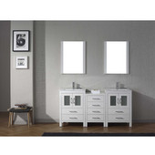Dior 66'' Double Bathroom Vanity Set with 2 Main Cabinets & Middle Cabinet in White, Slim White Ceramic Top with Integrated Square Sinks, Polished Chrome Faucets, (2) Mirrors Included