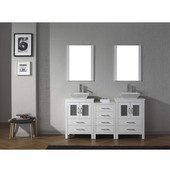 Dior 66'' Double Bathroom Vanity Set with 2 Main Cabinets & Middle Cabinet in White, White Engineered Stone Top with Square Vessel Sinks, Polished Chrome Faucets, (2) Mirrors Included