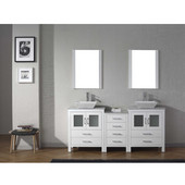 Dior 66'' Double Bathroom Vanity Set with 2 Main Cabinets & Middle Cabinet in White, Italian Carrara White Marble Top with Square Vessel Sinks, Brushed Nickel Faucets, (2) Mirrors Included