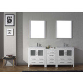 Dior 78'' Double Bathroom Vanity Set with 2 Main Cabinets & Middle Cabinet in White, Slim White Ceramic Top with Integrated Square Sinks, Polished Chrome Faucets, (2) Mirrors Included