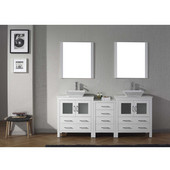Dior 78'' Double Bathroom Vanity Set with 2 Main Cabinets & Middle Cabinet in White, White Engineered Stone Top with Square Vessel Sinks, Polished Chrome Faucets, (2) Mirrors Included