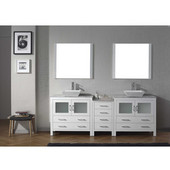 Dior 78'' Double Bathroom Vanity Set with 2 Main Cabinets & Middle Cabinet in White, Italian Carrara White Marble Top with Square Vessel Sinks, Brushed Nickel Faucets, (2) Mirrors Included