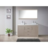Tavian 60'' Double Bathroom Vanity Set in Grey Oak, White Engineered Stone Top with Square Vessel Sinks, Polished Chrome Faucets, Mirror Included
