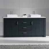 Tavian 60'' Double Bathroom Vanity Set in Grey, White Engineered Stone Top with Square Vessel Sinks, Polished Chrome Faucets