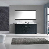 Tavian 60'' Double Bathroom Vanity Set in Grey, White Engineered Stone Top with Square Vessel Sinks, Polished Chrome Faucets, Mirror Included