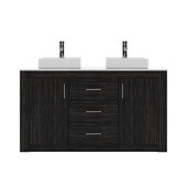 Tavian 60'' Double Bath Vanity in Midnight Oak with White Engineered Stone Top and Square Sinks, Polished Chrome Faucet with No Mirror, 60'' W x 22'' D x 33-7/16'' H