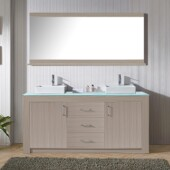 Tavian 72'' Double Bathroom Vanity Set in Grey Oak, Aqua Tempered Glass Top with Square Vessel Sinks, Polished Chrome Faucets, Mirror Included