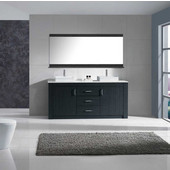 Tavian 72'' Double Bathroom Vanity Set in Grey, White Engineered Stone Top with Square Vessel Sinks, Brushed Nickel Faucets, Mirror Included
