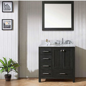 Caroline Premium 36'' Single Bathroom Vanity Set with Left Side Drawers in Zebra Grey, Italian Carrara White Marble Top with Round Sink, Mirror Included