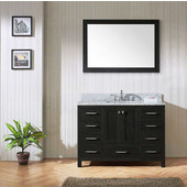 Caroline Premium 48'' Single Bathroom Vanity Set in Zebra Grey, Italian Carrara White Marble Top with Square Sink, Mirror Included