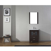 Dior 24'' Single Bathroom Vanity Set in Espresso, Slim White Ceramic Top with Integrated Square Sink, Brushed Nickel Faucet, Mirror Included