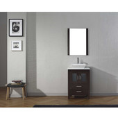 Dior 24'' Single Bathroom Vanity Set in Espresso, White Engineered Stone Top with Square Vessel Sink, Brushed Nickel Faucet, Mirror Included