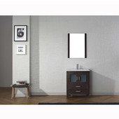 Dior 28'' Single Bathroom Vanity Set in Espresso, Slim White Ceramic Top with Integrated Square Sink, Faucet Available in 2 Finishes, Mirror Included