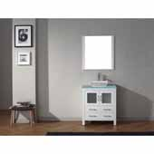 Dior 30'' Single Bathroom Vanity Set in White, Aqua Tempered Glass Top with Square Vessel Sink, Polished Chrome Faucet, Mirror Included