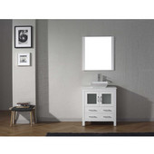 Dior 30'' Single Bathroom Vanity Set in White, White Engineered Stone Top with Square Vessel Sink, Polished Chrome Faucet, Mirror Included