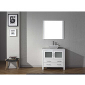Dior 30'' Single Bathroom Vanity Set in White, Italian Carrara White Marble Top with Square Vessel Sink, Polished Chrome Faucet, Mirror Included