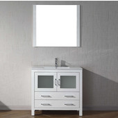 Dior 36'' Single Bathroom Vanity Set in White, Slim White Ceramic Top with Integrated Square Sink, Faucet Available in 2 Finishes, Mirror Included