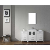 Dior 60'' Single Bathroom Vanity Set with Main Cabinet & 2 Side Cabinets in White, Slim White Ceramic Top with Integrated Square Sink, Brushed Nickel Faucet, Mirror Included