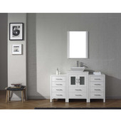 Dior 60'' Single Bathroom Vanity Set with Main Cabinet & 2 Side Cabinets in White, White Engineered Stone Top with Square Vessel Sink, Brushed Nickel Faucet, Mirror Included