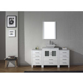 Dior 60'' Single Bathroom Vanity Set with Main Cabinet & 2 Side Cabinets in White, Italian Carrara White Marble Top with Square Vessel Sink, Polished Chrome Faucet, Mirror Included