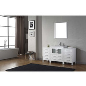 Dior 66'' Single Bathroom Vanity Set with Main Cabinet & 2 Side Cabinets in White, Slim White Ceramic Top with Integrated Square Sink, Polished Chrome Faucet, Mirror Included