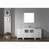 Dior 72'' Single Bathroom Vanity Set with Main Cabinet & 2 Side Cabinets in White, Slim White Ceramic Top with Integrated Square Sink, Faucet Available in 2 Finishes, Mirror Included
