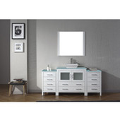 Dior 72'' Single Bathroom Vanity Set with Main Cabinet & 2 Side Cabinets in White, Aqua Tempered Glass Top with Square Vessel Sink, Brushed Nickel Faucet, Mirror Included